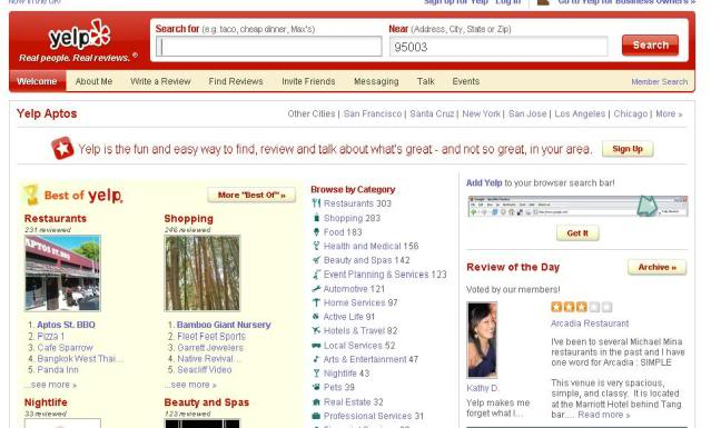 Yelps front page