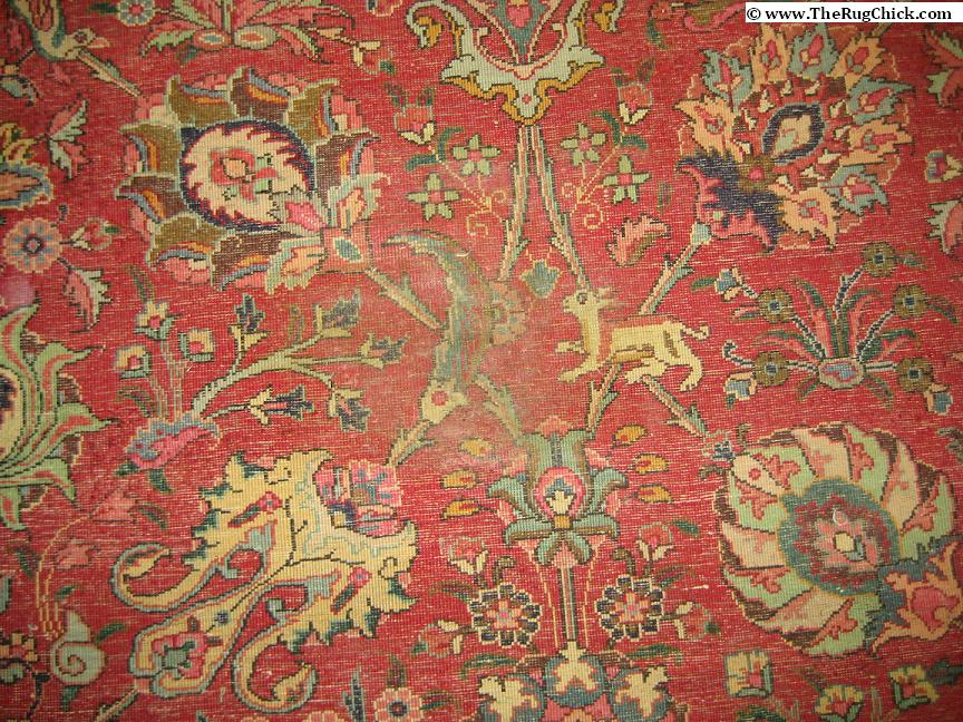 Mildew growth on back of Persian rug with repeated pet urine activity - this is the stage before dry rot sets in.
